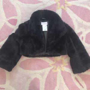 American Girl Navy Faux Fur Shrug Jacket girls 8